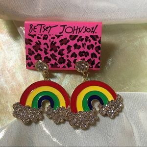 Betsey Johnson Rainbow Arch Statement Earrings